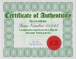 Certificate Of Authenticity Template Cool 48 Sample Certificate Of Authenticity Templates Sample Templates