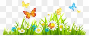 spring flowers border clipart. Unique Border Grass Ground With Flowers And Butterflies Png Clipart  Spring Flower  Border Free Transparent PNG Images Download