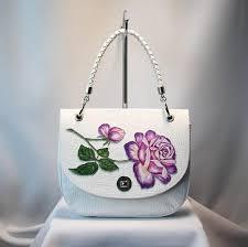 leather bag handmade bag white bag vintage bag flower bag gift for her rose rose bag women bag handmade leather bag top handle bag