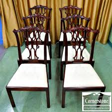 5965 418 Set of 6 Henkel Harris Solid Mahogany Dining Chairs