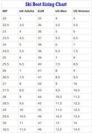 Telemark Ski Boot Size Conversion Chart
