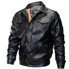 winter new mens pu leather stand collar retro thick motorcycle jackets