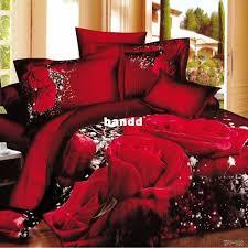 big rose printed bedding set 3d 100 cotton duvet cover king queen quilt cover sets luxury red color bedsheet set wedding