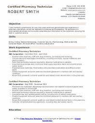 Pharmacy Tech Resume Template Certified Pharmacy Technician Resume Samples Qwikresume