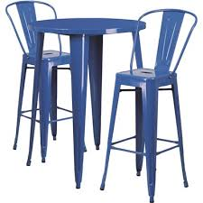 flash furniture blue 3 piece metal round outdoor bar height bistro set