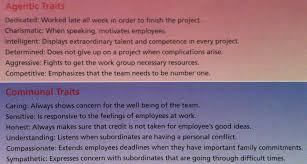 Good Work Traits Agentic Traits Vs Communal Traits Students Exploring
