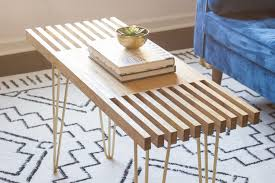 diy slatted coffee table with hairpin