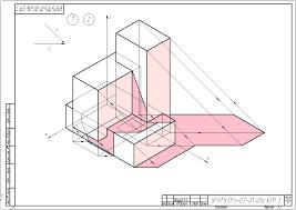 УГНТУ Начертательная геометрия КГР №3 Лист 11 Тени в аксонометрии для студентов специальности ПГ Пример выполнения контрольно графической работы