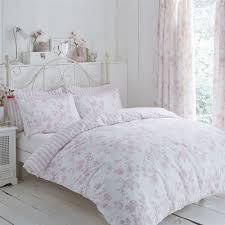 details about fl toile stripe pink white single duvet cover pencil pleat curtains