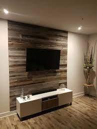 barn wood walls living room