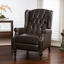 awesome leather wingback chair for your living room design brown leather tufted wingback chair with