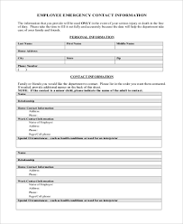 Sample Employee Emergency Contact Form 6 Free Documents In Word Pdf