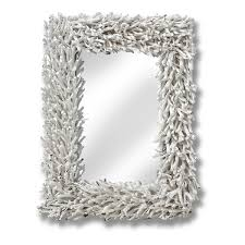 large white wall mounted mirror driftwood nautical wood frame shabby chic home