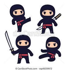 cute ninja clipart.  Ninja Cute Cartoon Ninja Set With Katana Sword Different Fighting Poses  Isolated Vector Clip Art Illustration On Ninja Clipart