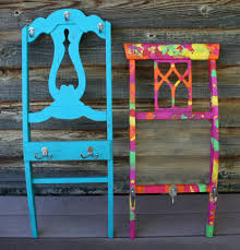 Coat Rack Chair Salvaged chair backs repurposed to coat rack or jewelry display 99