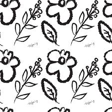 フリー素材テクスチャモノトーンの北欧風の花と葉と枝のイラストの
