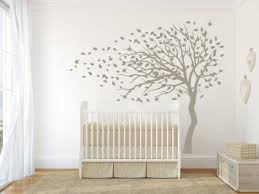 blowing tree flying birds wall decal