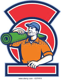 carpet roll logo. illustration of a male carpet layer carrying roll mat on shoulder looking to the logo