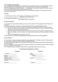 Tanger Sample Of Labor Contract, Employment Contract