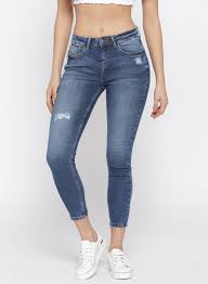 Jealous 21 Blue Hottie Skinny Fit Mildly Distressed Stretchable Ankle Length Jeans