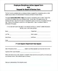 employee discipline template employee disciplinary action appeal form discipline forms for