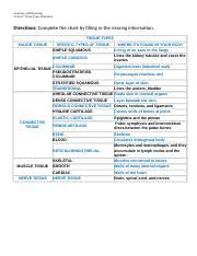 Tissue Chart Worksheet Answers Worksheet Tissues Chart 4 Anatomy And Physiology