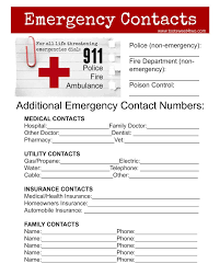 Emergency Contact Printable Emergency Contact Sheet Are You Ready Toot Sweet 4 Two