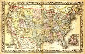 map of decor united states map vintage map canvas large map wall art map map