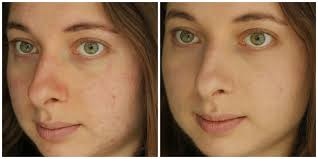 left bare face right wearing make up for ever ultra hd invisible cover foundation in y235 ivory beige
