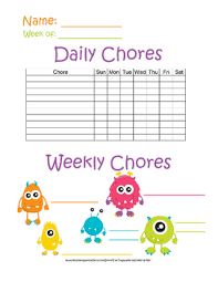 Monster Themed Chore Charts Monthly Weekly And Daily