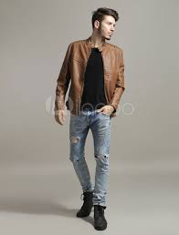 mens clothing brown leather jacket men jacket stand collar long sleeve zip up motorcycle jacket