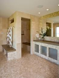 Open Shower Bathroom Marble Tile Bathroom With Open Shower This Master Bathroom