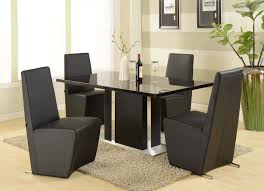 contemporary glass top dining room sets. Ultra Modern Kitchen Dining Set With Black Glass Top Table And Leather Upholstered Chair Above Beige Fur Area Rug Floor Ceramic Contemporary Room Sets T
