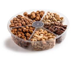 plastic 6 section roasted and glazed nuts gift tray
