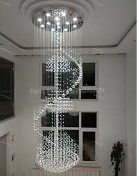 modern led long big spiral staircase crystal chandeliers light fixture for foyer el hall large hanging