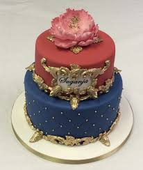 2 Tier Red Blue And Gold Cake Adult Birthday Cakes Celebration