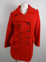 beautiful red 100 wool double ted peacoat size m super cute