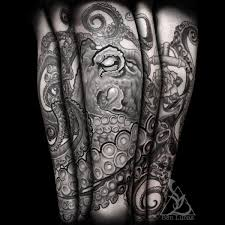 Black And Grey Octopus Leg Sleeve Tattoo Guy Tattoos Octopus