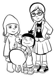 Small Picture coloring page Despicable me gru agnes edith margo Coloring