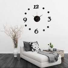 3d diy number decal frameless wall clock room decoration
