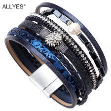 <b>ALLYES</b> Braided <b>Leather</b> Bracelets For Women Boho Crystal Flower ...