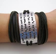Inspirational Quotes Bracelets Impressive Custom Quote Bracelet Leather Wrap Bracelet Inspirational Quote