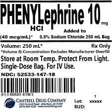 Phenylephrine Hcl 10 Mg Added To 0 9 Sodium Chloride 250 Ml Bag