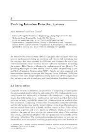 Evolving Intrusion Detection Systems   Springer SpringerLink Inside