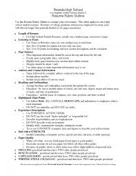 Resume Outline Example For High School Students Best of High School Student Resume Examples Layout By R Sevte