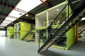 container office design. Co Working Offices Are Built Out Of Shipping Containers Inside Old The Bakery View Down Hall Container Office Design