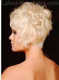 curly cute short wispy teased blonde side view