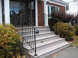 Exterior:Appealing Black Iron Railings For White Wooden Outdoor Stairs Also  Red Brick Exterior Wall