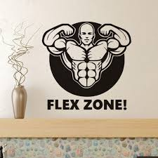 Flex Quotes Impressive Muscle Man Decals Quotes Flex Zone Art Mural Wallpaper Removalbe