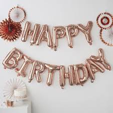 Happy Birthday Balloons Banner Rose Gold Happy Birthday Balloon Banner Sugarsisters Ie